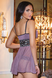 Garden Purple and Metallic Lace Babydoll