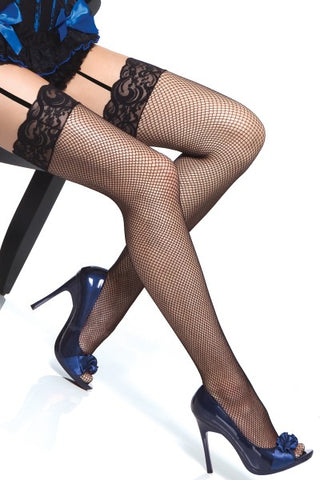 Night Out Lace Top Fishnet Thigh Highs in Black
