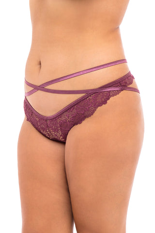 Sorry Not Sorry Strappy Panty in Burgundy