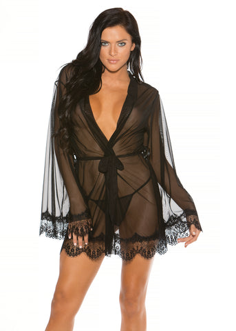 Surely Sheer Mesh & Lace Robe in Black