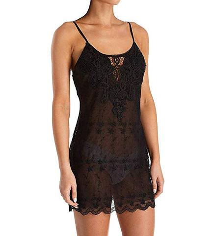 Thin white femme body wearing a gorgeous wide scoop, rounded neckline chemise. The neckline is highlighted by a see-through crocheted lace inset and surrounding lace. The sheer chemise body is adorned with a delicate floral embroidery pattern that repeats. It it mid-thigh length with a raw scalloped edge.