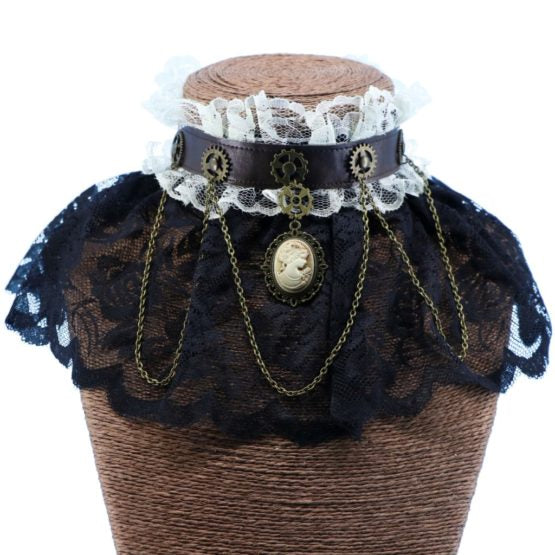 Black Steampunk Lace Choker with Gears