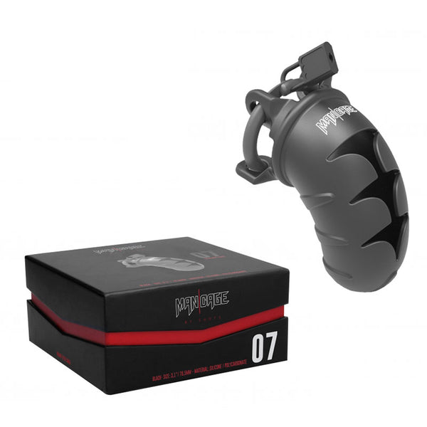 silicone cock cage with plastic ring, metal lock and air vents. Next to a sleek black box with red details and the model number 07 in white font