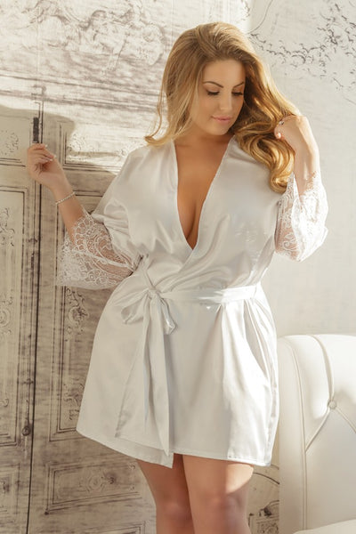Satin Robe with Lace Sleeves in White