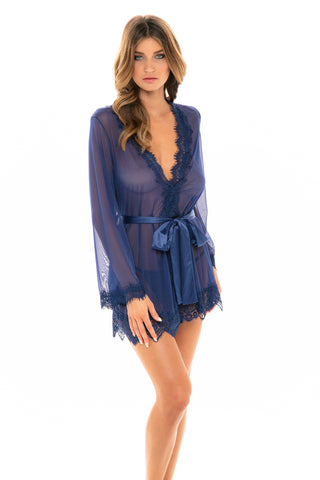 Our Next Chapter Mesh & Lace Robe In Estate Blue