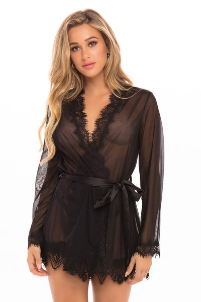 Our Next Chapter Mesh & Lace Robe In Black
