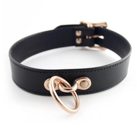 Restrained Grace Classic Locking Collar in Black & Rose Gold