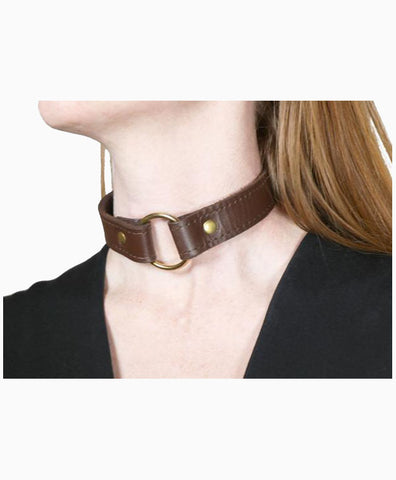 Brown Leather O Ring Collar by Bound Leatherworks