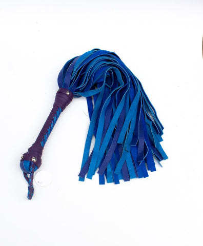 "Beautiful BDSM Flogger with royal blue ½"" falls and braided blue and purple handle"