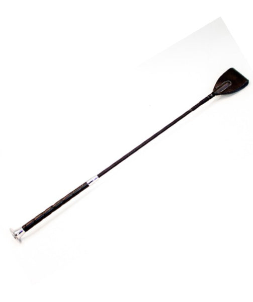 black leather bdsm crop with wrapped-look fiberglass handle and triangular leather tip; crop has chrome-painted plastic cap detail at base