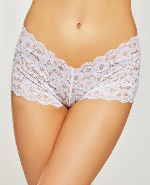 Crotchless Lace Boy Shorts in White
