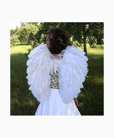 Elegant Curved Feather Angel Wings in White