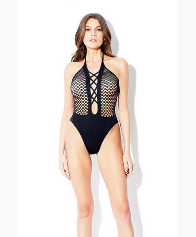 Fencenet Lace Up Plunge Teddy