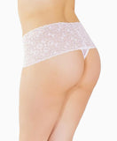 High Waisted Floral Lace Thong in White