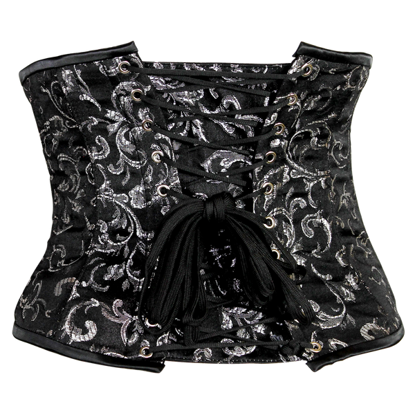 Alluring Underbust Corset in Black and Silver Brocade
