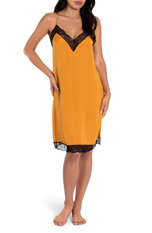 Mustard Midi Hammered Satin Gown