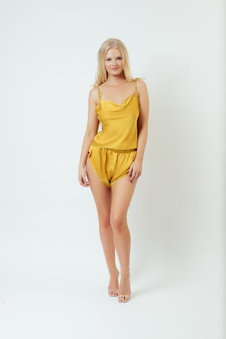 Kilo Brava Satin Cowl Cami & Short Set in Gold Satin
