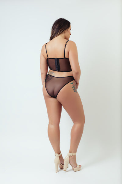 Kilo Brava Black Caviar Embroidered Bikini Panty