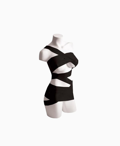 mannequin with black bondage tape wrapped across the bodice