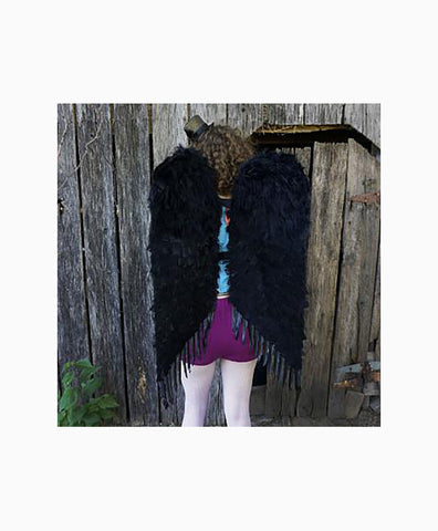 Large Feather Angel Wings in Black