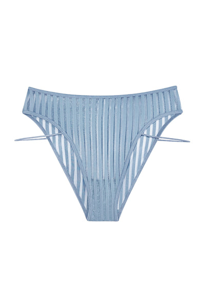 image on white background of highwaisted blue denim color panty with side strap detail