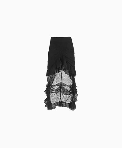 Ruched Bustle Skirt with Lace Train