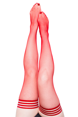 Kixies Sandra Red Fishnet Thigh High