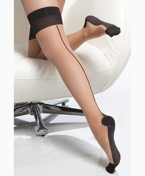 Sheer Cuban Heel Thigh Highs with Backseam