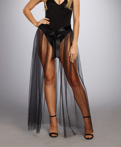 Sheer Tie Front Skirt