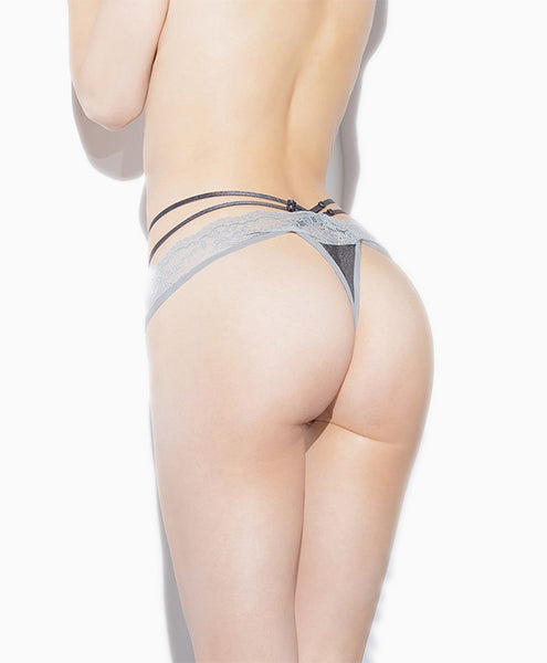 Silver Strappy Thong