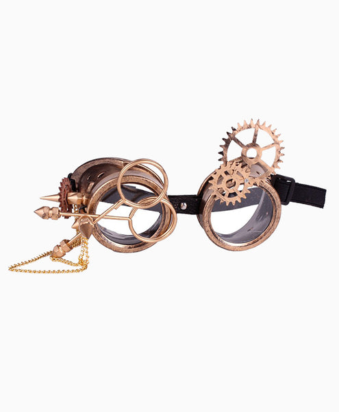 Steampunk Goggles with Gears & Magnifier in Gold
