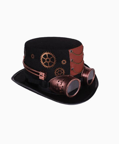 Steampunk Hat with Goggles in Copper