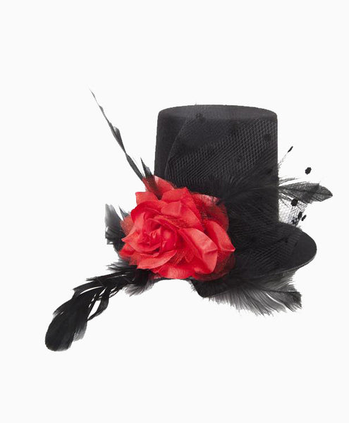 Steampunk Mini Hat with Rose and Feathers