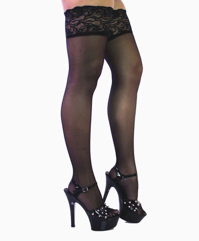 Sheer Black Lace Top Thigh Highs