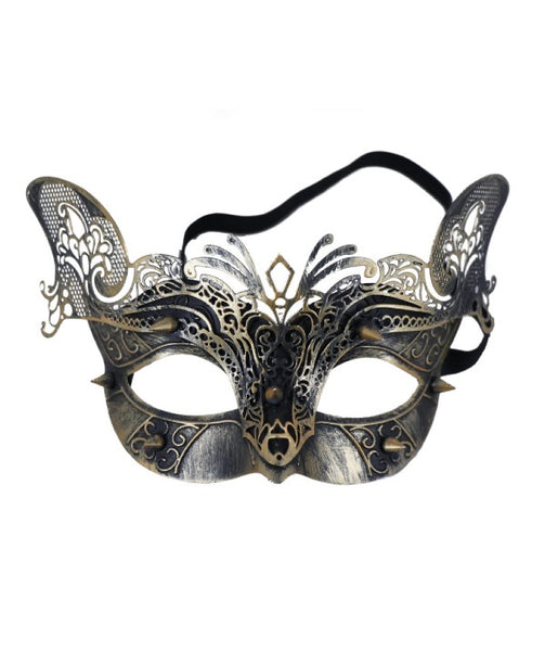 patinaed gold color feline face mask with added texture from a laser cutout layer of venetian inspired detailing