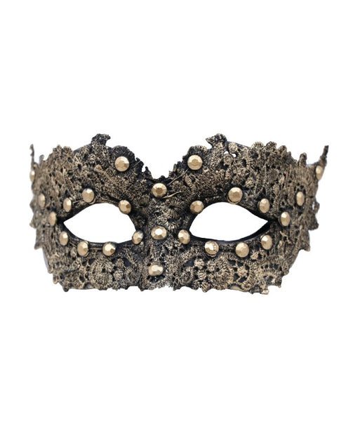 venetian face mask with black lace painted gold and gold gems, eye cut outs