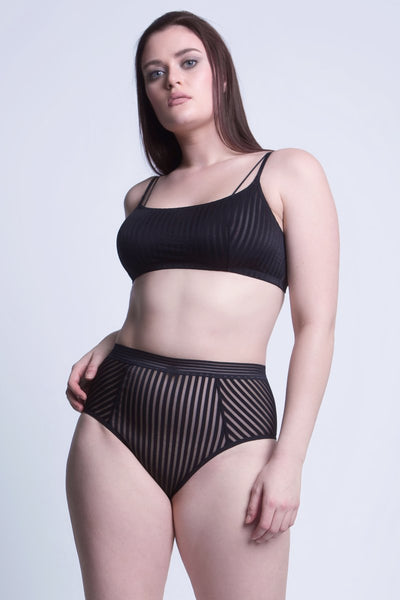 Vertigo Mesh Striped High Waisted Shaper Brief In Black