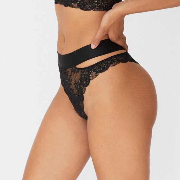 Monique Morin Wild Lace Cheeky Panty in Black