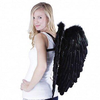 Elegant Curved Feather Angel Wings in Black