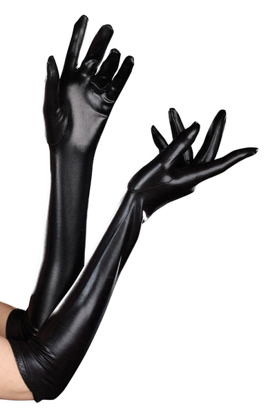 Wet Look Elbow Gloves
