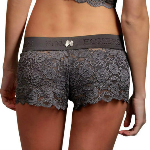 Foxers Lace Boxers in Charcoal Gray