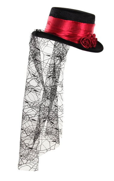 Steampunk Hat with Roses and Lace Veil