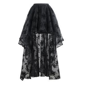 Morticia's Wedding Skirt with Floral Organza Overlay