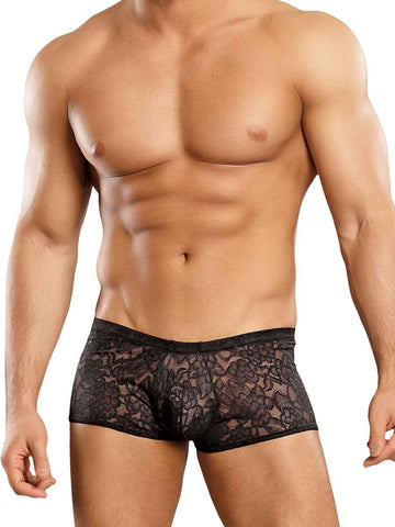 Stretch Lace Mini Short in Black by Male Power