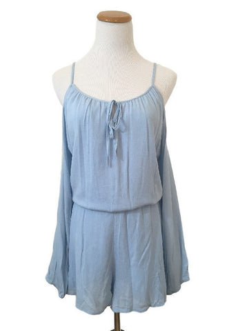 Blue Crochet Back Romper, , Rompers, New, Bottoms, Bayberry Co. - 2
