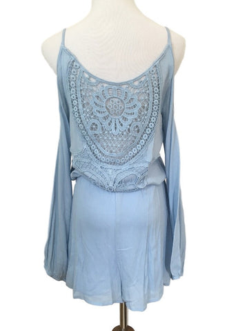 Blue Crochet Back Romper, , Rompers, New, Bottoms, Bayberry Co. - 1