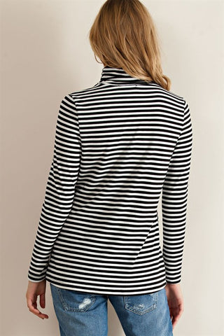 Striped Turtleneck Top, , Tops, Essentials, New, Bayberry Co. - 3