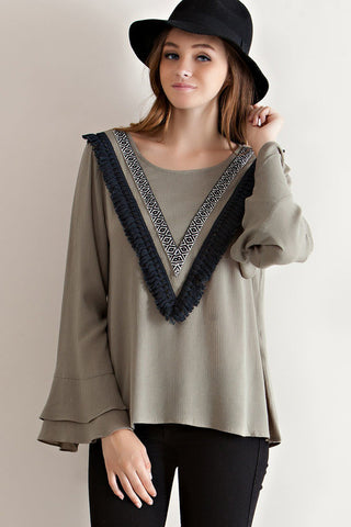 Olivia Fringe Top, , Tops, New, Bayberry Co. - 3