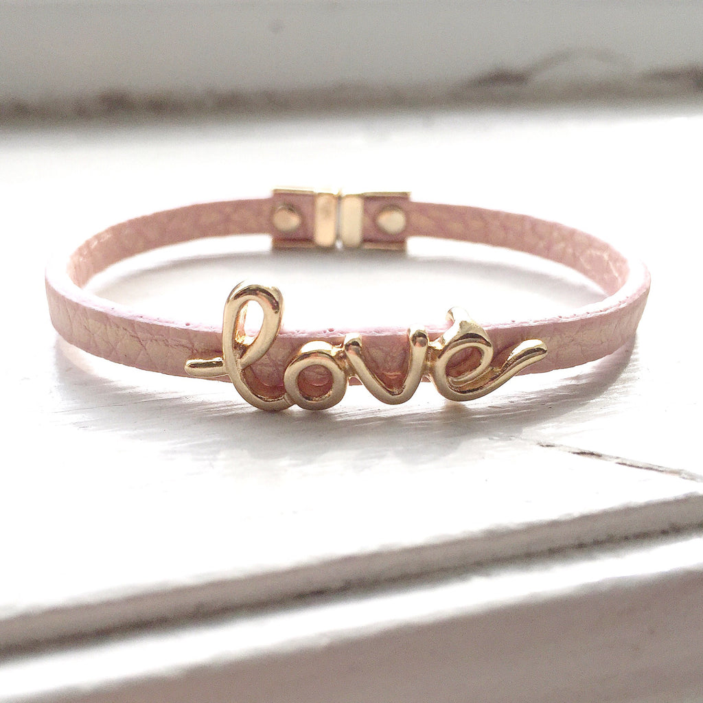 Love Leatherette Bracelet - Pink, , sale, jewelry, Bayberry Co. - 1