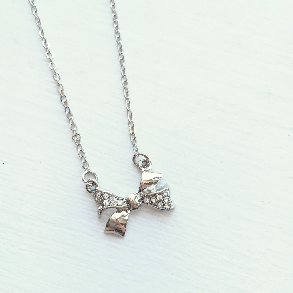 Bow Necklace - Silver, , sale, jewelry, Bayberry Co. - 1